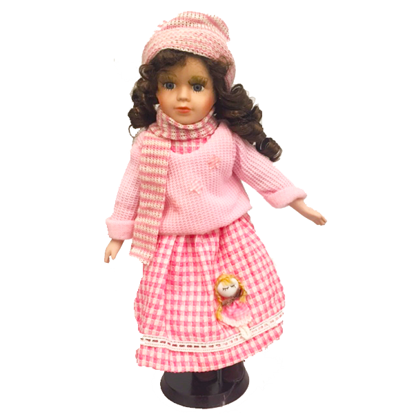 """Light Pink Sweater and Hat"" Bisque Porcelain Doll"