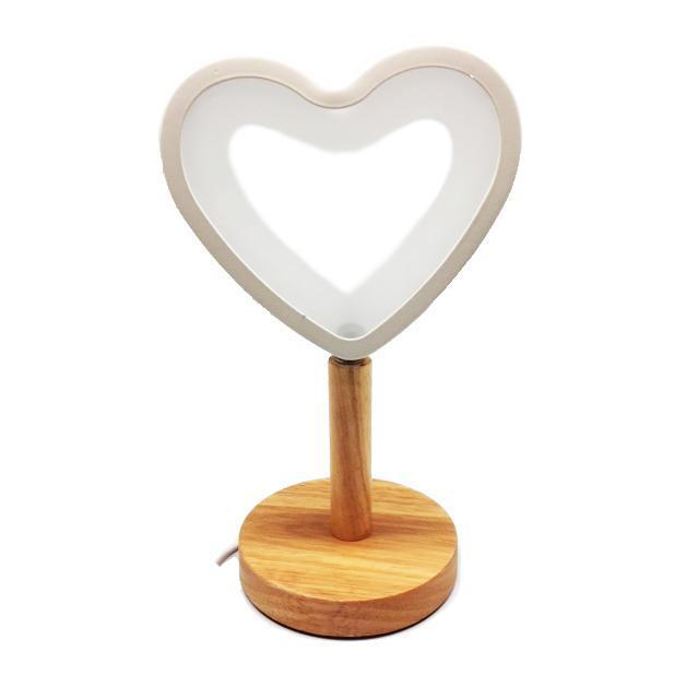LED Heart-Shaped Lamp With Wooden Base