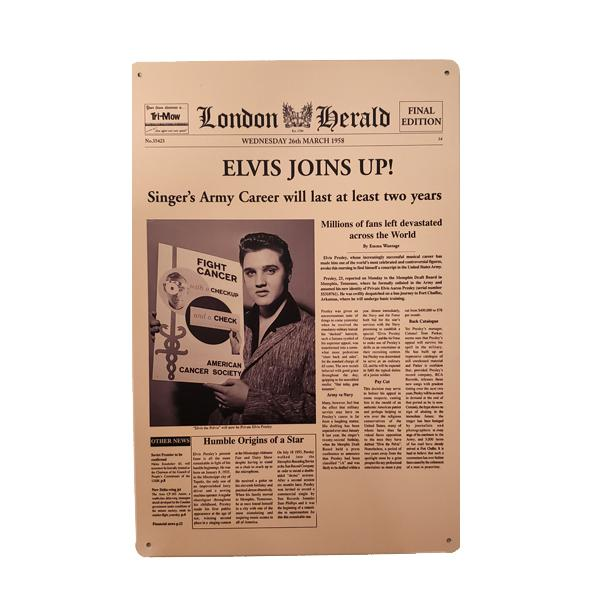 Elvis Presley On London Herald Newspaper Vintage Collectible Metal Wall Decor Sign