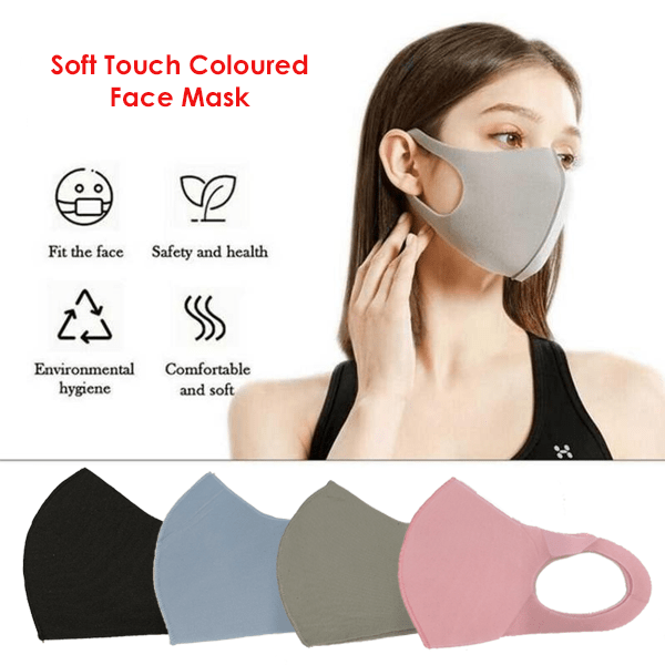 3 Pieces: Soft Touch Colored Face Mask - Assorted Colors