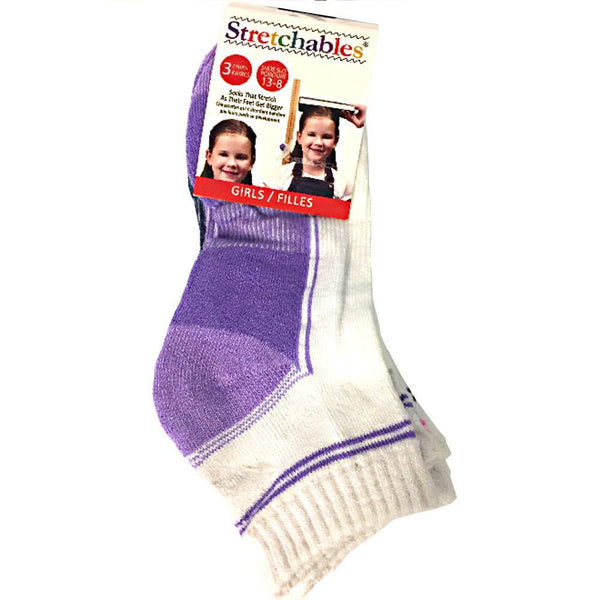 Fashion - 3 Pairs Stretchables Kids Socks - Girls