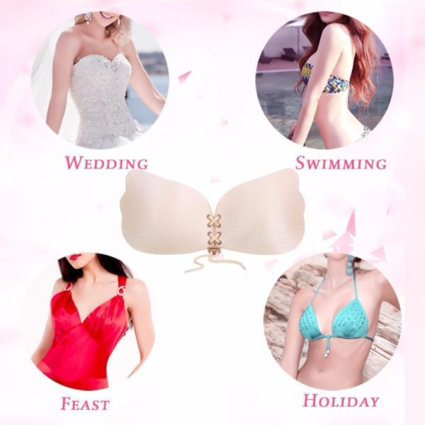 Fashion - Angel Bra - Strapless Self Adhesive Silicone Invisible Backless Push Up Bra