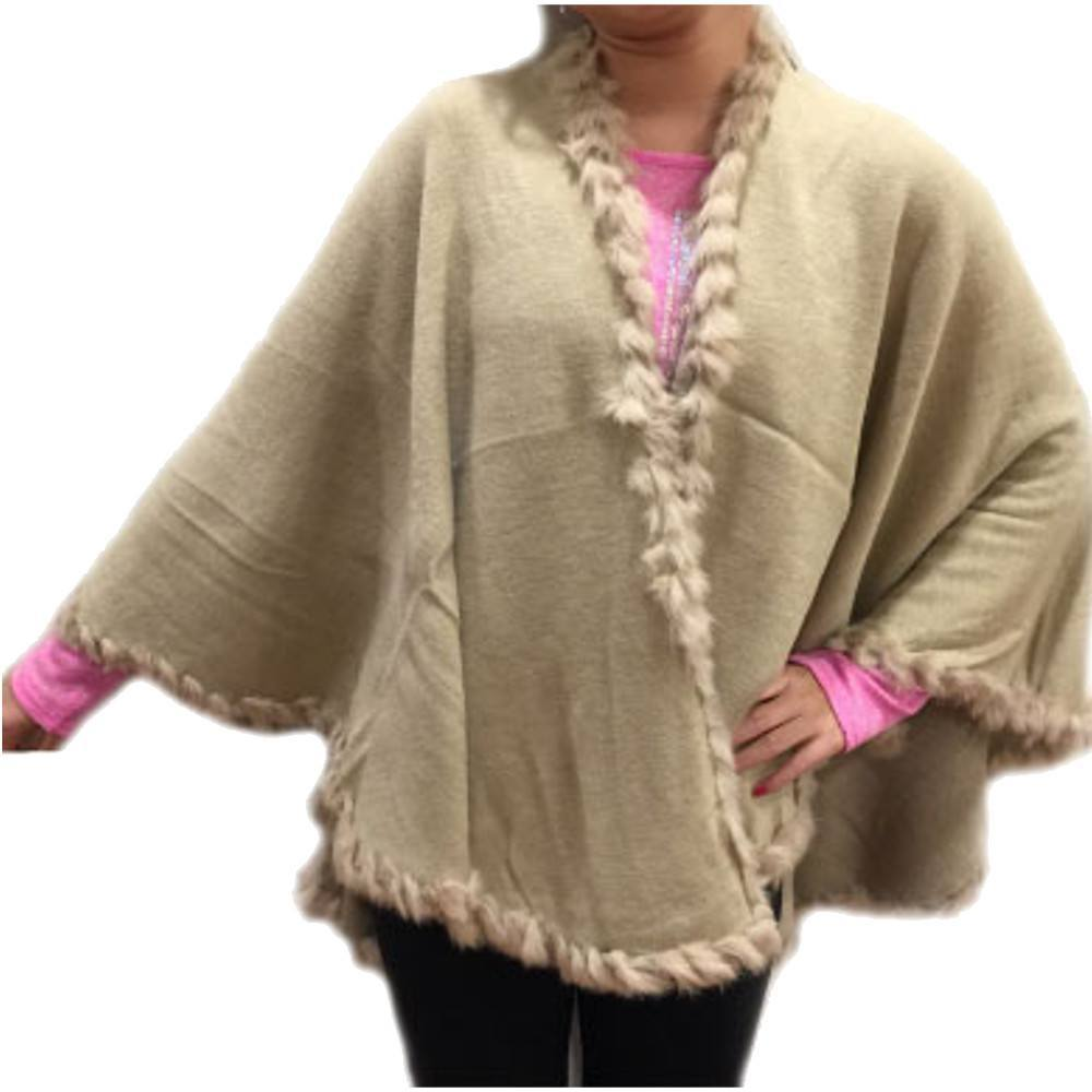 Fashion - Winter Knitted Faux Cashmere Poncho Beige - #17190