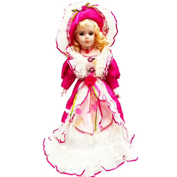 """Dark Pink Dress"" Bisque Porcelain Doll"