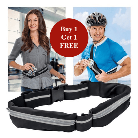 Buy 1 Get 1 Free! - Multipurpose Dual Pocket Waist Belt - Ideal for Running, Gym, Travel & More!
