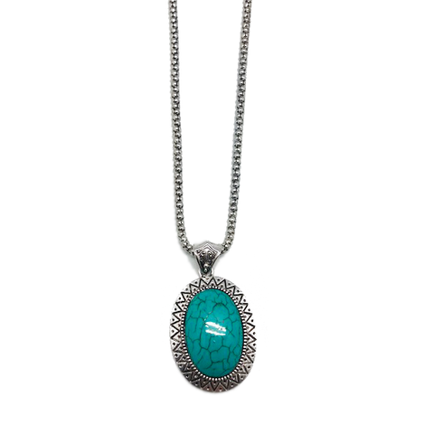 """Grace"" Turquoise Oval Pendant & Chain Necklace"