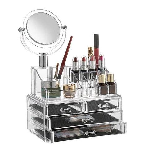 Health & Beauty - Acrylic 4-Drawer Cosmetic Organizer With Detachable Mirror
