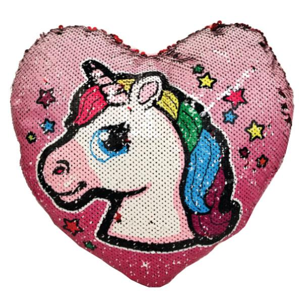 Heart Shaped Double-Sided Sequin Unicorn Decorative Unicorn Cushions - 3 Styles Available!