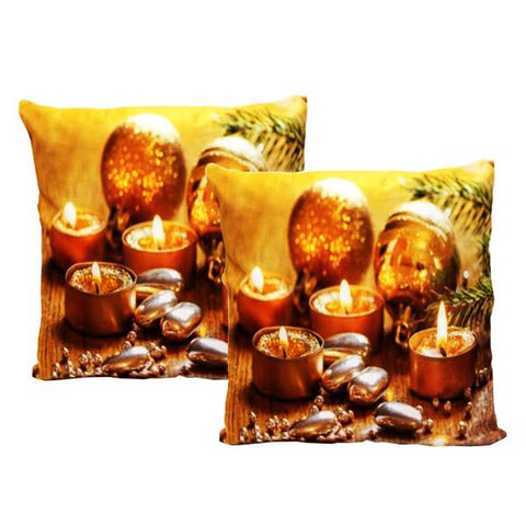 "Holiday - ""Golden Lights"" Festive Holiday Decor Toss Cushion"