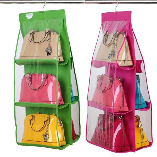 Home - 6-Pocket Large Capacity Hanging Storage And Purse Organizer - Assorted Colours