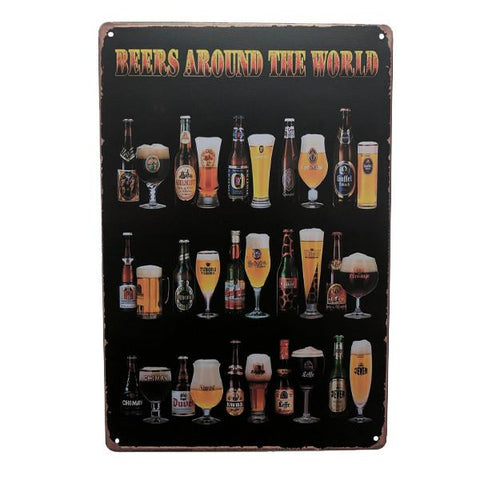 "Home - ""Beers Around The World"" Vintage Collectible Metal Wall Decor Sign"