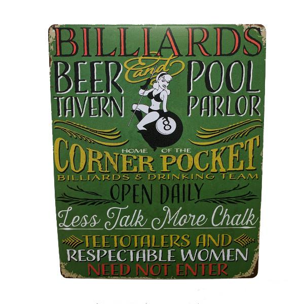 "Home - ""Billiards, Beer Tavern & Pool Parlor"" Vintage Collectible Metal Wall Decor Sign - 15"" X 12"""