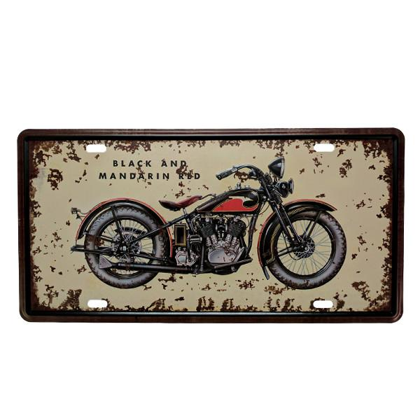 Home - Black And Red Mandarin Vintage License Plate Wall Decor Sign