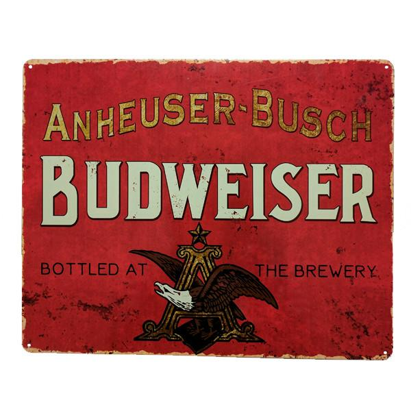 "Home - Budweiser ""Bottled At The Brewery"" Vintage Collectible Metal Wall Decor Sign - 15"" X 12"""
