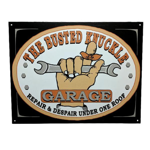 "Home - ""Busted Knuckle Garage - Repair And Despair"" Vintage Collectible Metal Wall Decor Sign - 16"" X 12.5"""