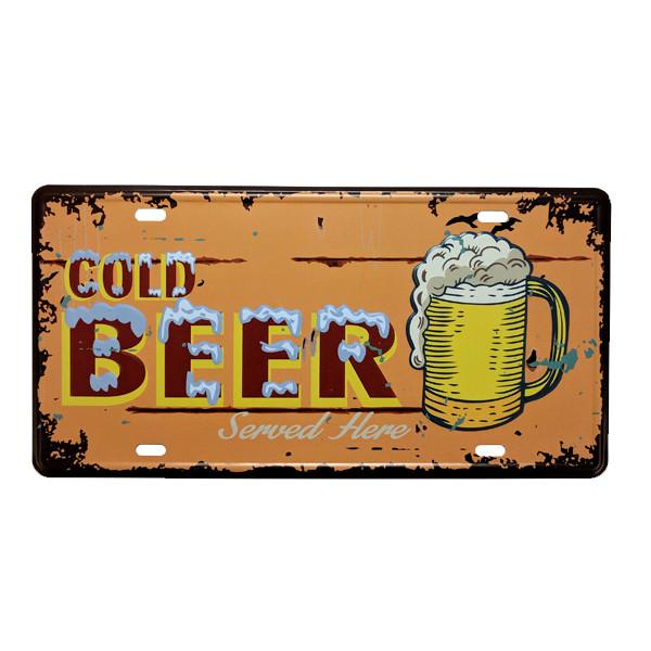 "Home - ""Cold Beer Served Here"" Vintage License Plate Wall Decor Sign"