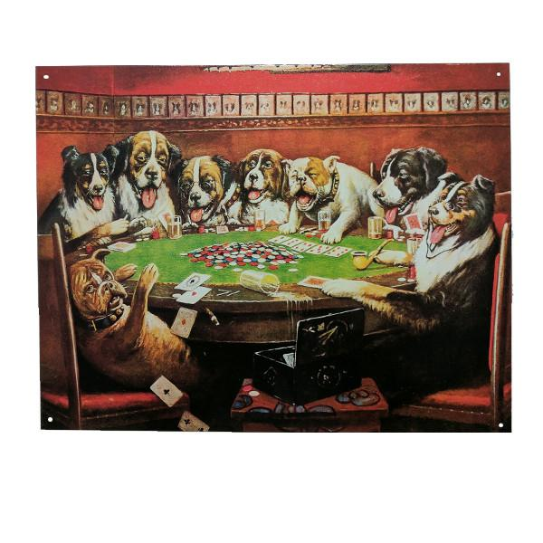 "Home - Dogs Playing Poker Vintage Collectible Metal Wall Decor Sign - 16"" X 12.5"""