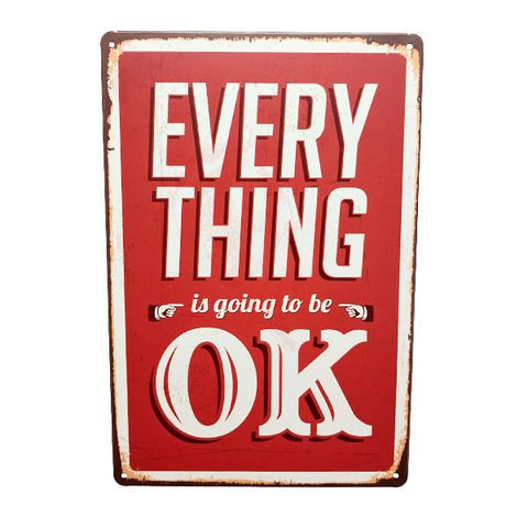 "Home - ""Everything Is Going To Be OK"" Vintage Collectible Metal Wall Decor Sign"