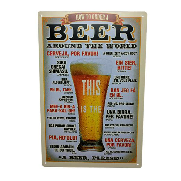 "Home - ""How To Order A Beer Around The World"" Vintage Collectible Metal Wall Decor Sign"