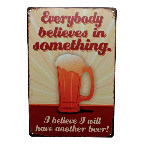 "Home - ""I Believe I Will Have Another Beer"" Vintage Collectible Metal Wall Decor Sign"