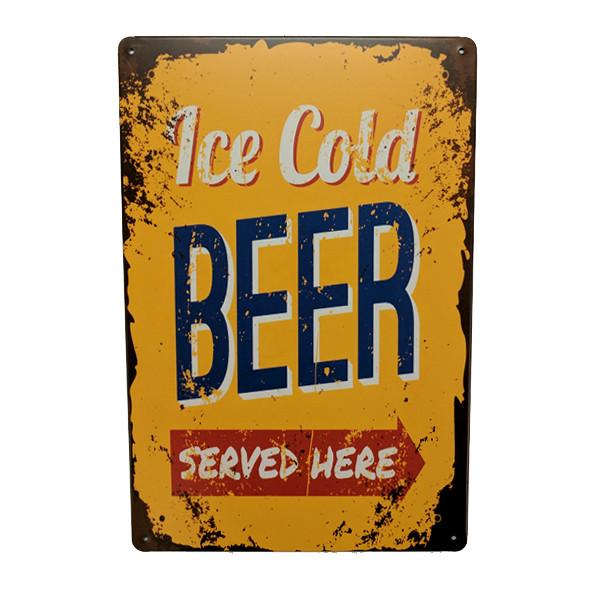 "Home - ""Ice Cold Beer Served Here"" Vintage Collectible Metal Wall Decor Sign"