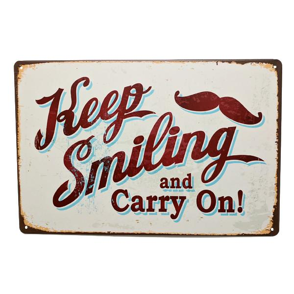 "Home - ""Keep Smiling And Carry On"" Vintage Collectible Metal Wall Decor Sign"