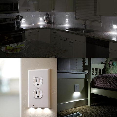Home - LED Wall-Outlet Coverplate With Built-In Light Sensor - No Batteries Required!