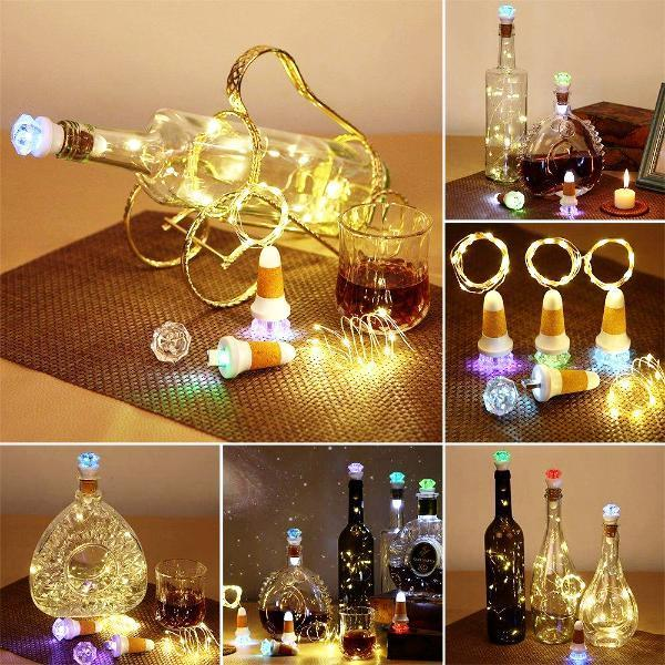 Home - Light-Up Crystal Bottle Cork With LED Fairy Lights - Multi Packs Available!