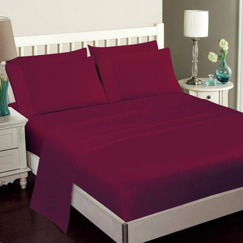 Luxury Bamboo Bed Sheet Set In Burgundy