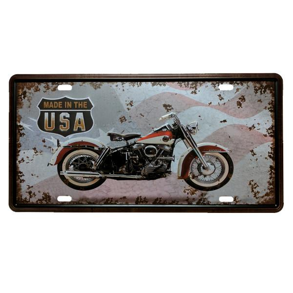 Home - Made In The USA Motorcycle Vintage License Plate Wall Decor Sign