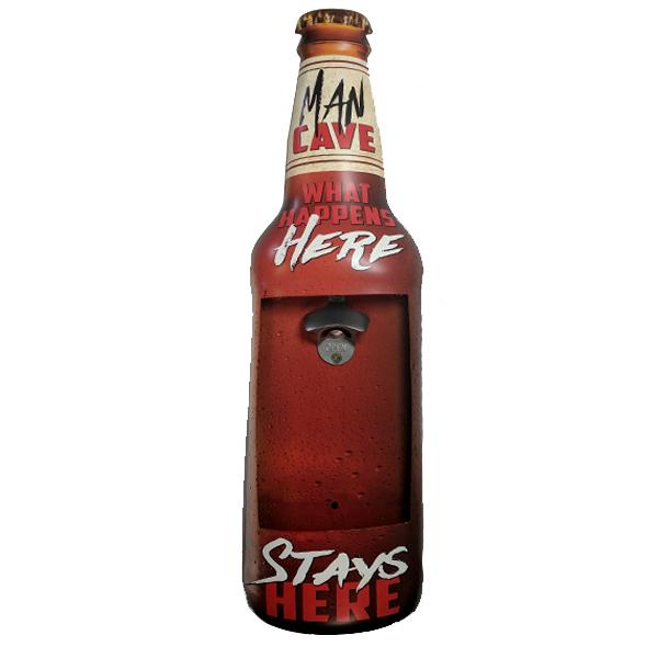 "Home - Man Cave ""What Happens Here, Stays Here"" Mountable Bottle Shaped Metal Cap Opener And Catcher"