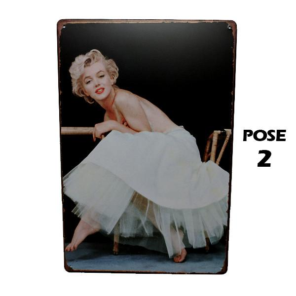 Home - Marilyn In A White Dress Vintage Collectible Metal Wall Decor Sign - 3 Poses Available!