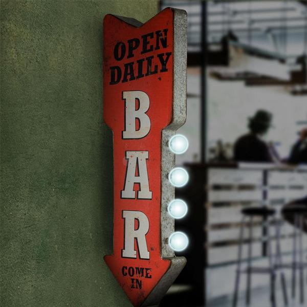 "Home - ""Open Daily Bar"" Double-Sided Marquee LED Sign"