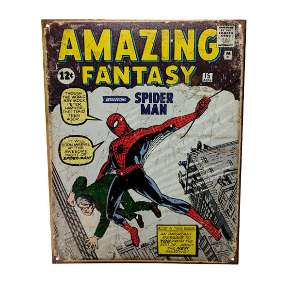 "Home - Retro Spider-Man ""Amazing Fantasy"" Comic Book Vintage Collectible Metal Wall Decor Sign - 16"" X 12.5"""