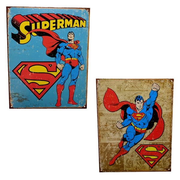 "Home - Retro Superman Vintage Collectible Metal Wall Decor Sign - 16"" X 12.5"""