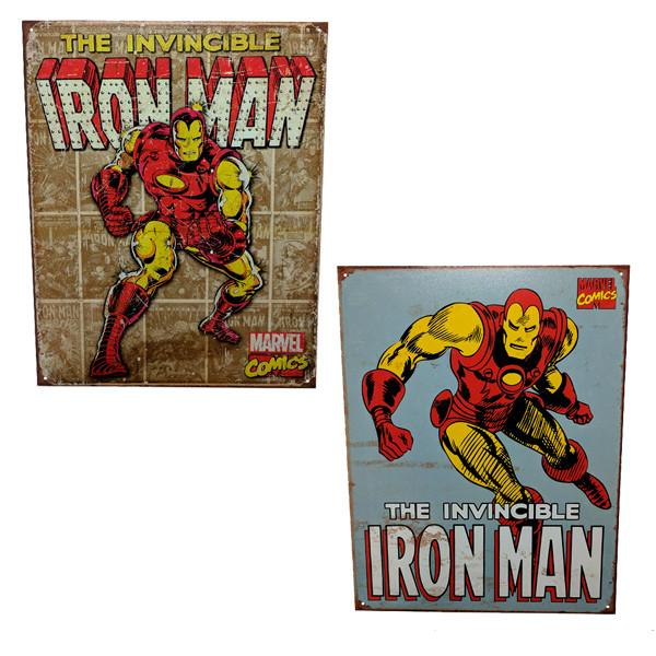"Home - Retro ""The Invincible Iron Man"" Vintage Collectible Metal Wall Decor Sign - 16"" X 12.5"""