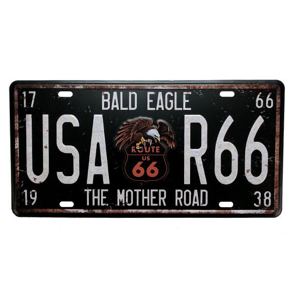 Home - The Mother Road / Bald Eagle USA Route 66 Vintage License Plate Wall Decor Sign