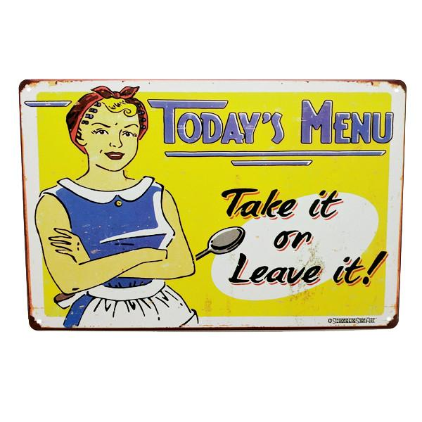"Home - ""Today's Menu, Take It Or Leave It"" Vintage Collectible Metal Wall Decor Sign"