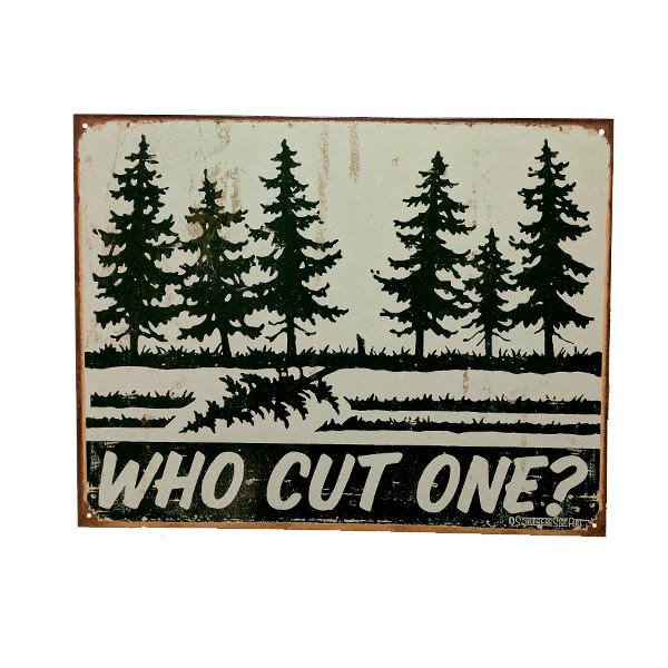 "Home - ""Who Cut One?"" Vintage Collectible Metal Wall Decor Sign - 16"" X 12.5"""