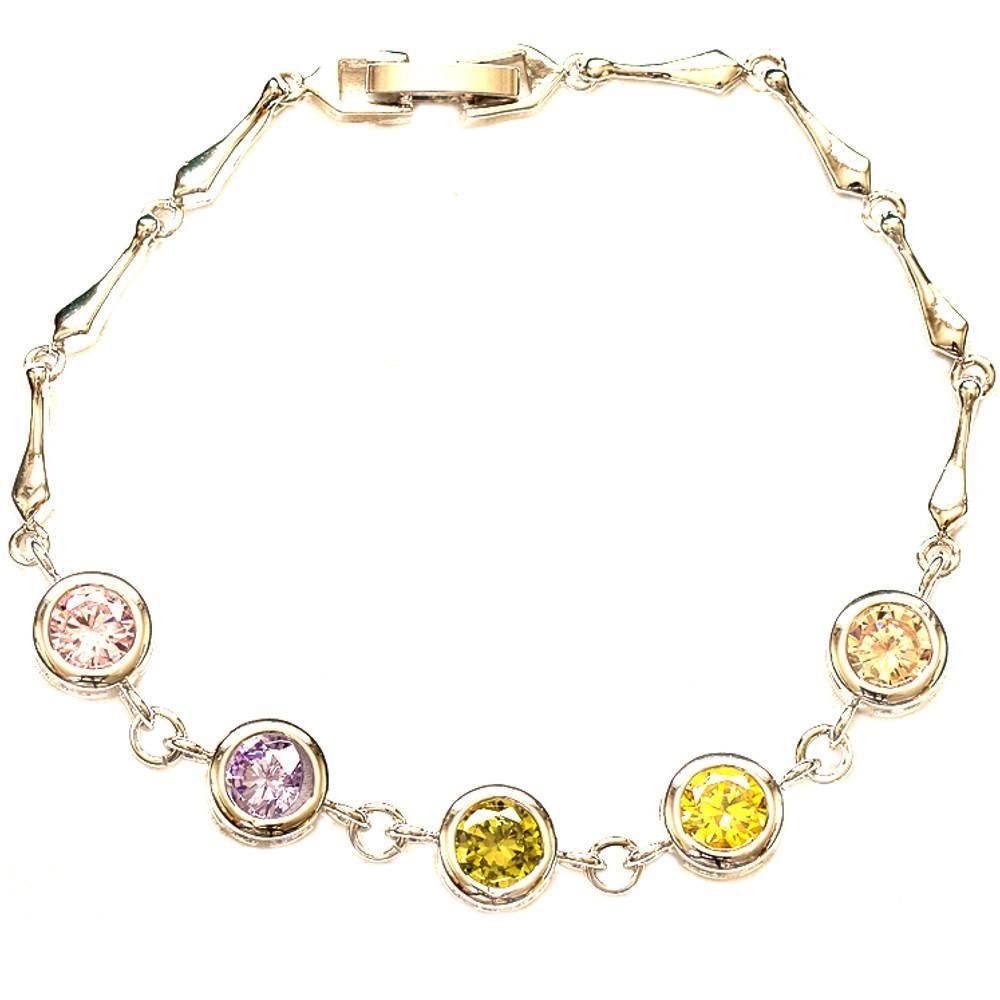 Jellewery - Multicolor Cubic Zirconia Lady's Link Chain Bracelet Bangle
