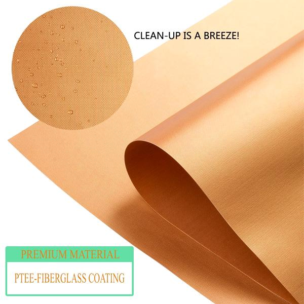 Kitchen - 2 Pack: Copper-Infused Heat Conductive Grilling & Baking Mats - Cook With Less Mess & Easy Prep!