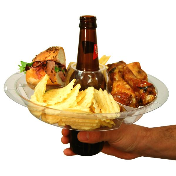 Kitchen - 2 Pack: The Perfect One-Handed Plate - 3 Compartments With Drink Holder