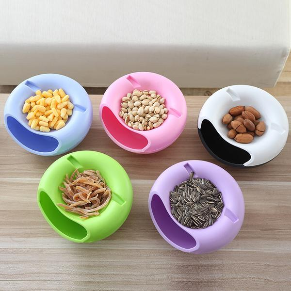 Kitchen - Multi-Layer Portable Snack Bowl With Smartphone Holder - 6 Colors Available!