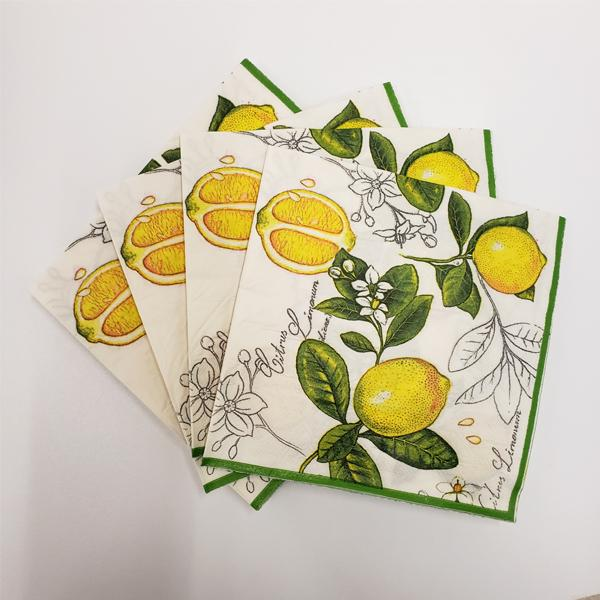"""Lemon"" Printed Disposable Table Napkin - Pack Includes 20 Sheets"