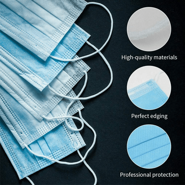 50 Pieces Hypoallergenic Disposable Face Masks - 98% Bacterial Filtration Efficiency