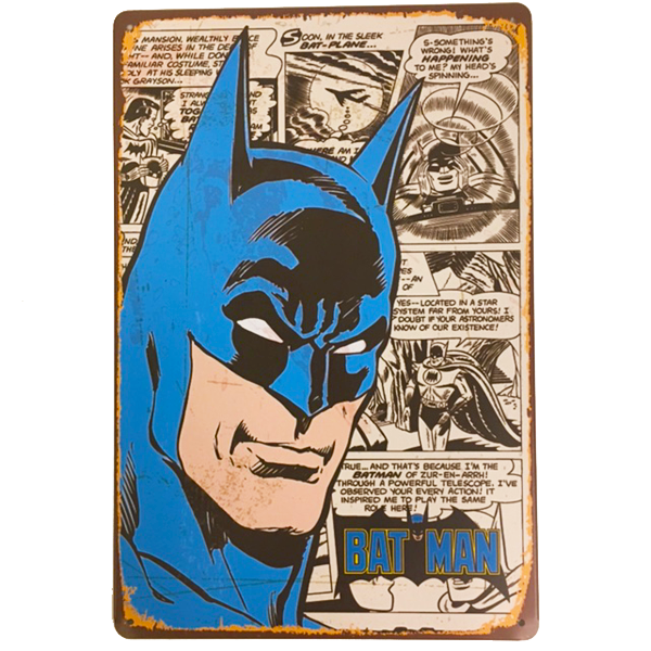 """Batman Head Shot"" Vintage Collectible Metal Sign Wall Art Decor With 4 Pre-drilled Holes"