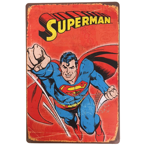 """Red Flying Superman"" Vintage Collectible Metal Sign Wall Art Decor With 4 Pre-drilled Holes"