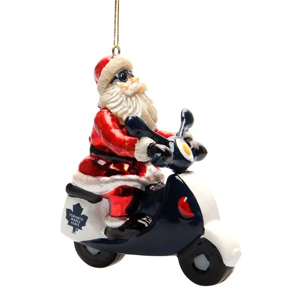 NHL - Toronto Maple Leafs Officially Licensed Santa Gets There Scooter Ornament
