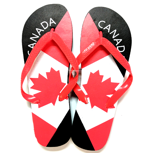 c0dbc48b7 Outdoor - Canada Tilted Flag Style Flip Flops - Assorted Sizes