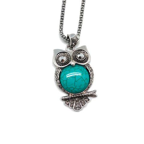 Owl Pendant & Chain Necklace - Assorted Colors